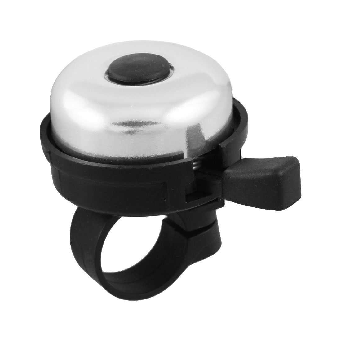 Bike Bicycle Bell Ring Round Black Silver Tone Plastic Metal Sound Alarm