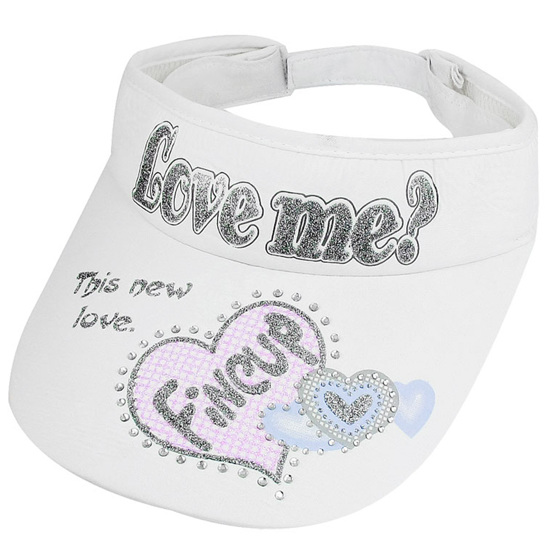 Glittery Letter Pattern Adjustable White Sun Visor Cap for Ladies