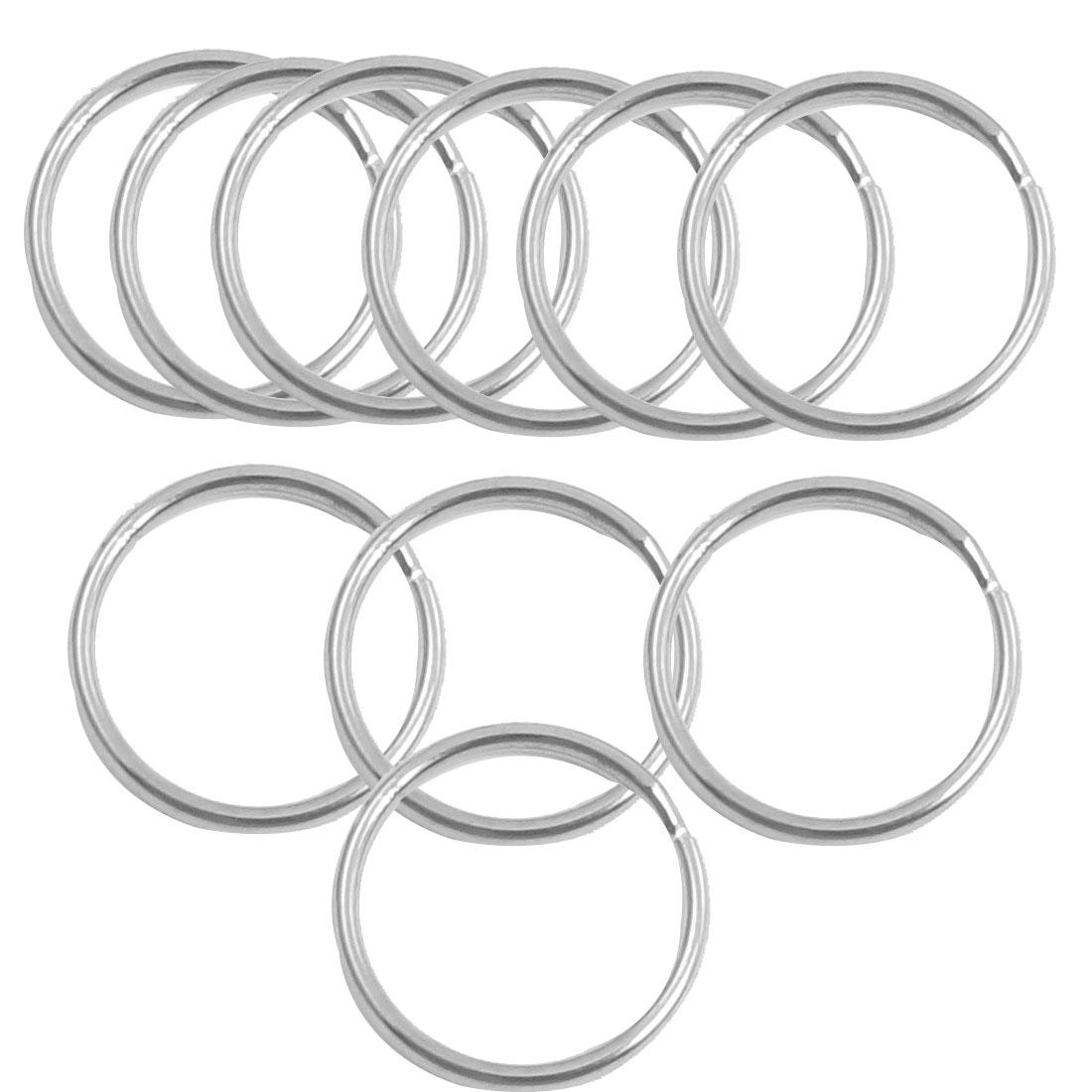 10 Pcs Glossy Metal Silver Tone Split Ring Key Rings