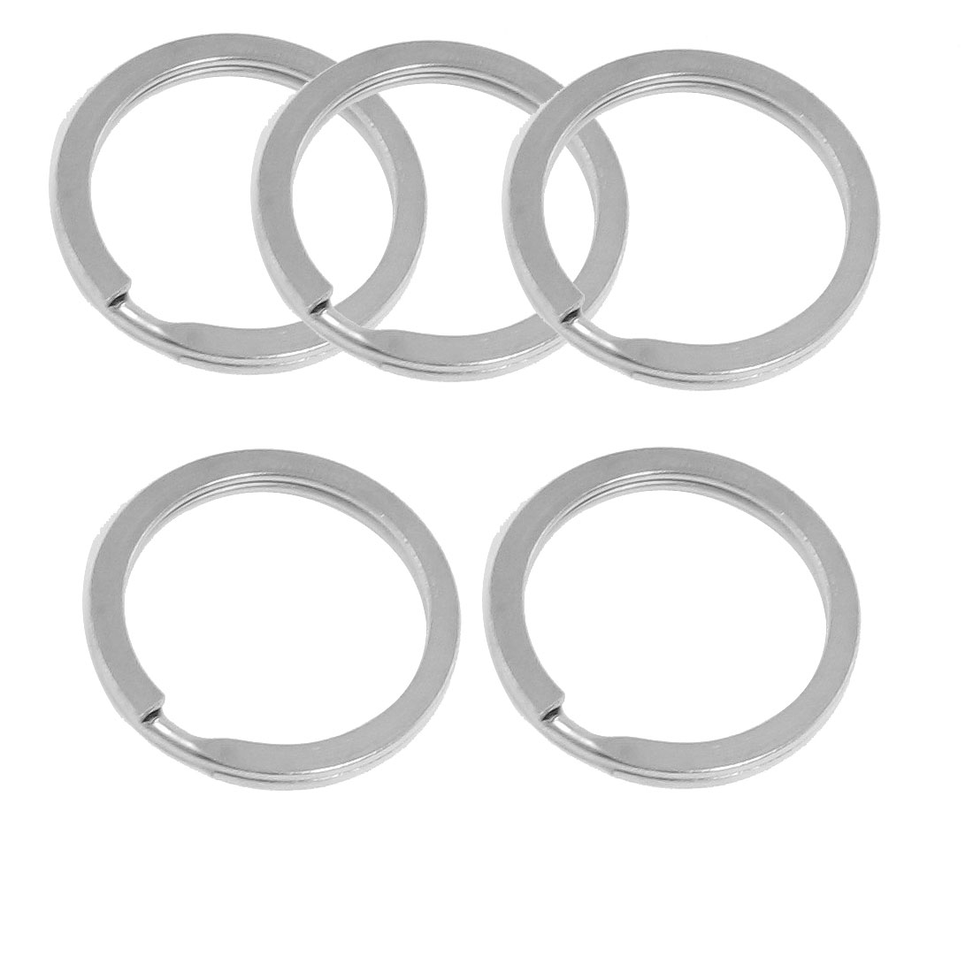 Key Ring Metal Round Hoop Flat Split Ring Keyring 30mm Dia Silver Tone 5 Pcs