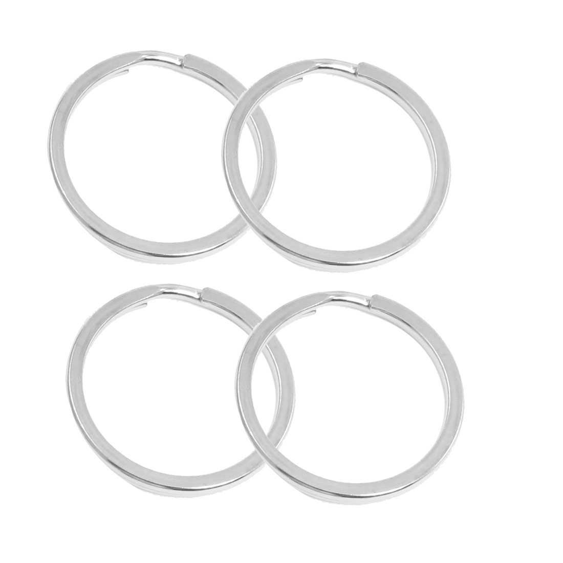 35mm Dia Silver Tone Metal Dual Loop Split Key Ring 4pcs