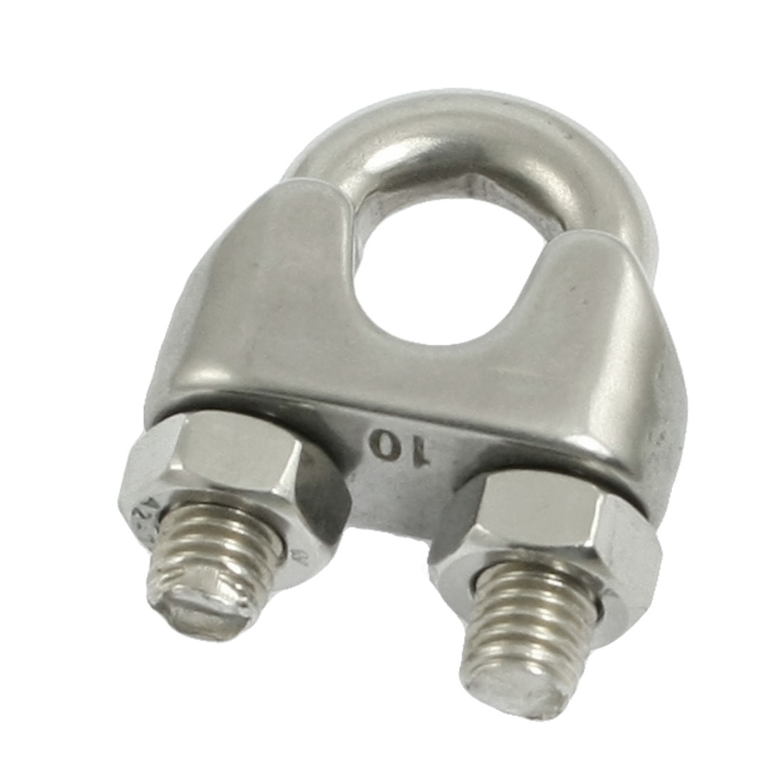 Silver Tone 10mm Stainless Steel Wire Rope Clip Cable Clamp