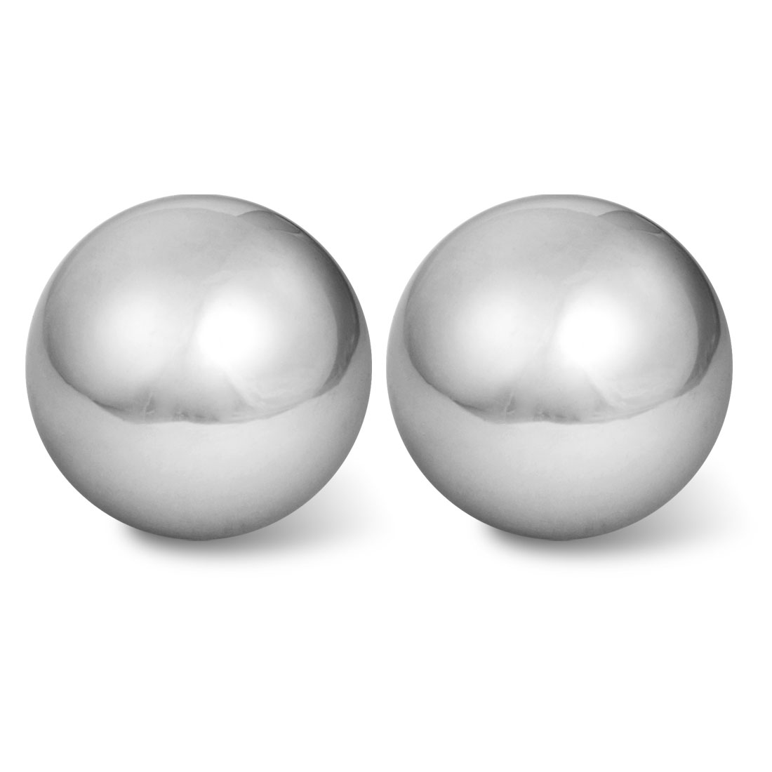 "2 Pcs Stress Relief Hand Palm Exersice Silver Tone 2"" Dia Chime Massage Ball"