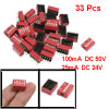 33 Pcs 2.54mm Pitch 5 Positions Slide Type DIP Switches Red
