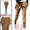 Woman Elastic Waist Baggy Pockets Harem Pants Trousers Brown S