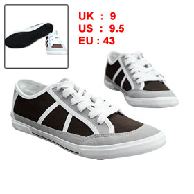 Mens Dark Brown Light Gray Lace Up Fashion Round Toe Canvas Sneakers US 9.5 Women US 11.5