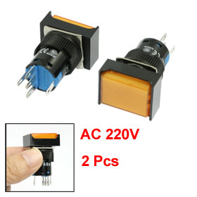 2 Pcs Panel Mount Latching Orange Light Rectangular Push Button Switch AC 220V