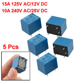5 Pcs DC 12V Coil SPDT 5 Pin Mini Power Relays PCB Type HHC66A-1Z-12VDC