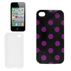 Black Fuchsia Dotted Soft Plastic Case Cover for iPhone 4G 4GS
