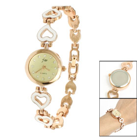 Alloy White Heart Shape Band Copper Tone Round Case Wrist Watch for Women