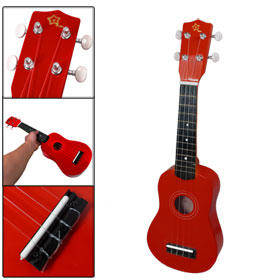 "Red Body Plastic String Wooden 21"" Adjustable Accordatura Guitar"