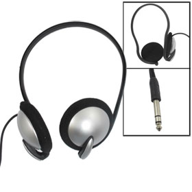 6.35mm Plug Sponge Earbuds Headphone Headset Black Silver Tone