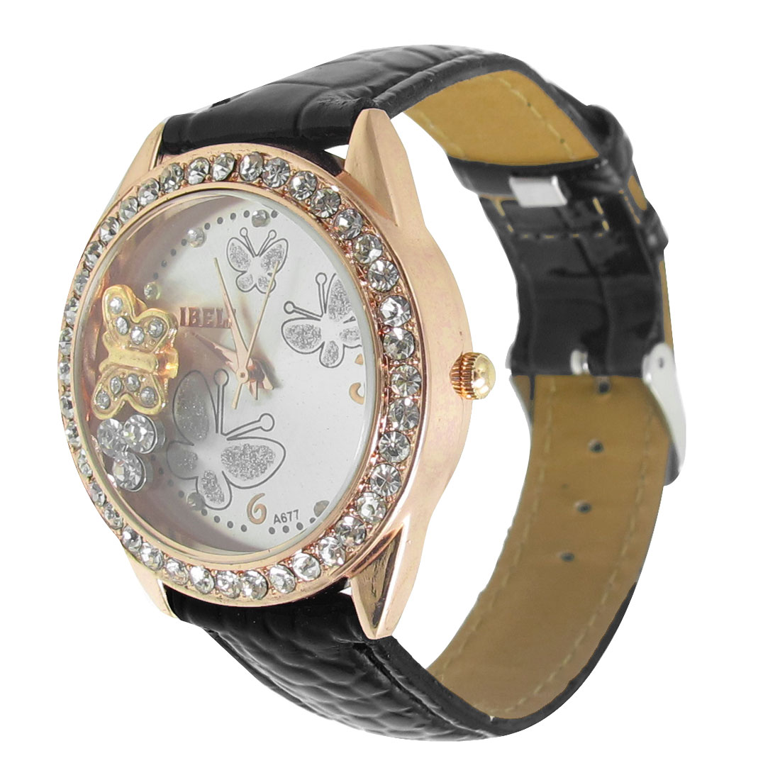 Single Prong Buckle Butterflies Decor Dial Black Faux Leather Band Wrist Watch