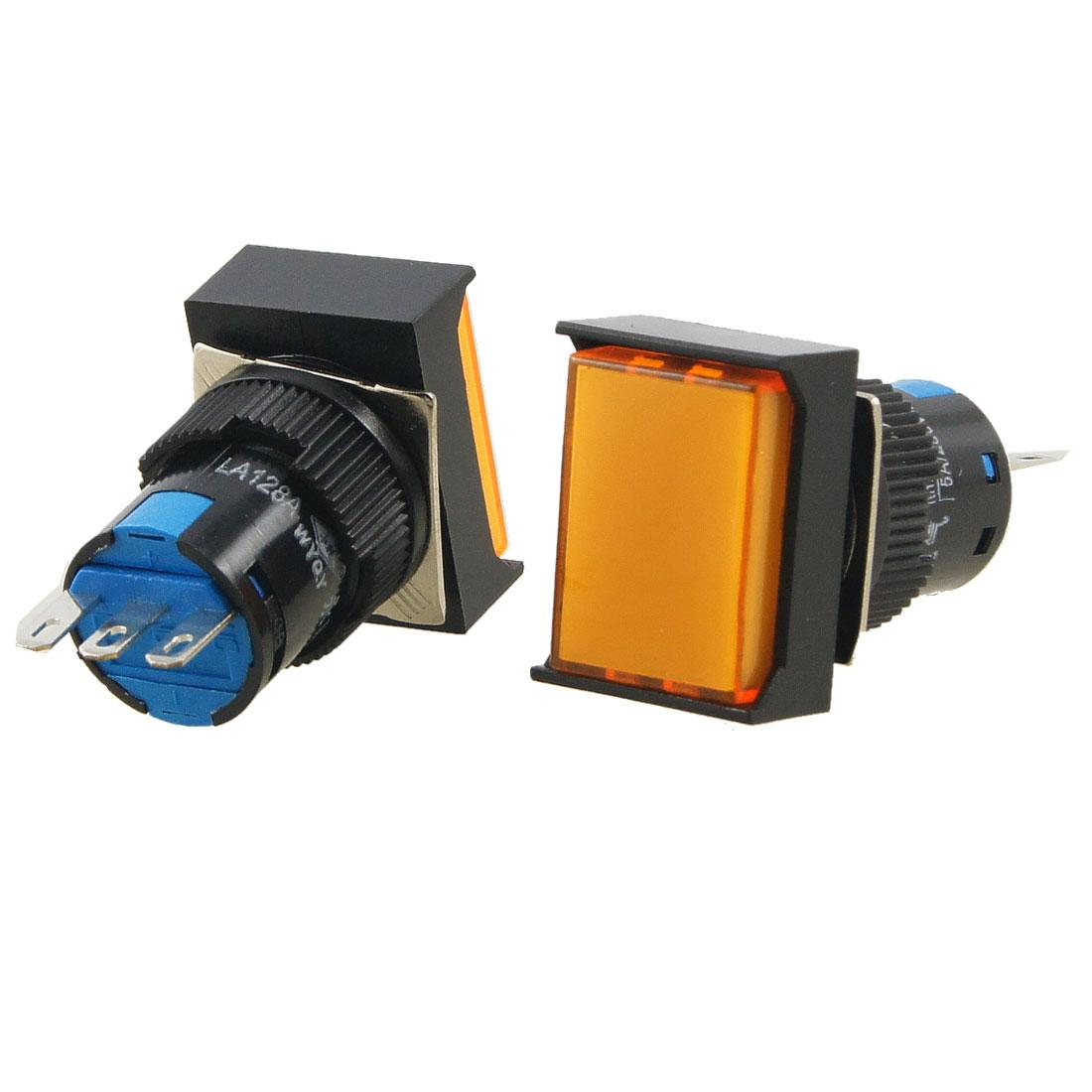 AC 250V 5A Orange 1NO 1NC Rectangle Momentary 16mm Push Button Switch 2 Pcs