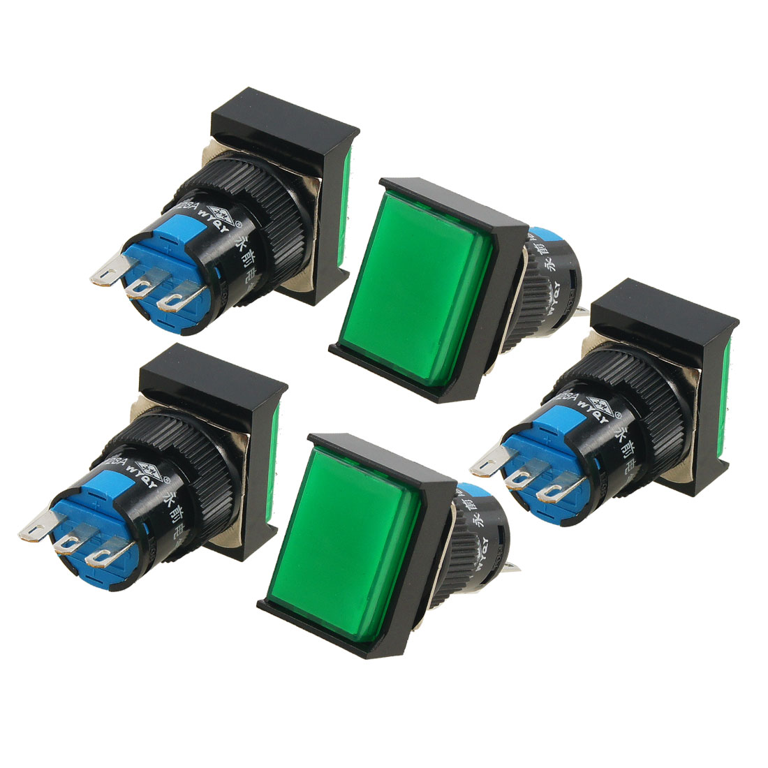5 Pcs Green SPDT Rectangle Momentary Push Button Switch AC 250V 5A