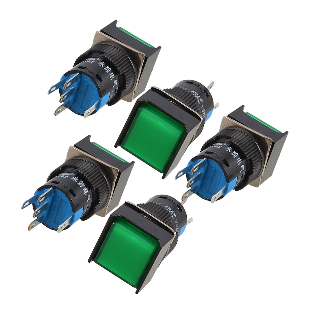 5 Pcs Green Square Cap DC 12V Light 1P2T 5 Pins Push Button Switch UL Certificated
