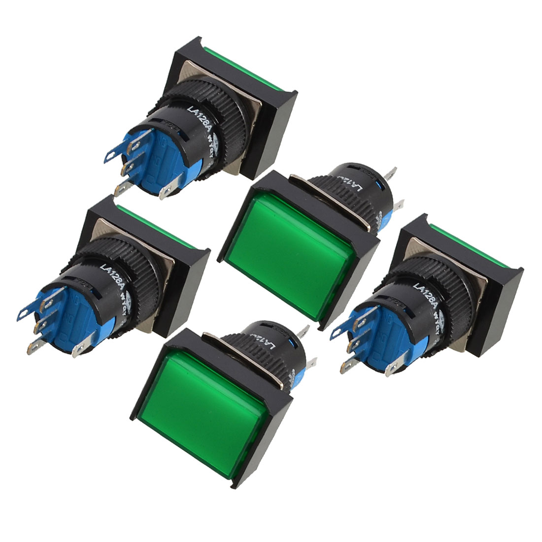 5 Pcs Green Rectangle Cap DC 12V Light SPDT 5 Pins Push Button Switch