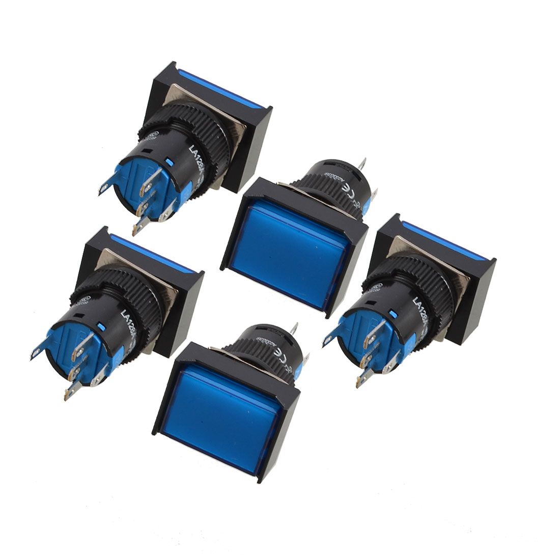 5 Pcs Blue Rectangle Cap DC 12V Light SPDT 5 Pins Push Button Switch