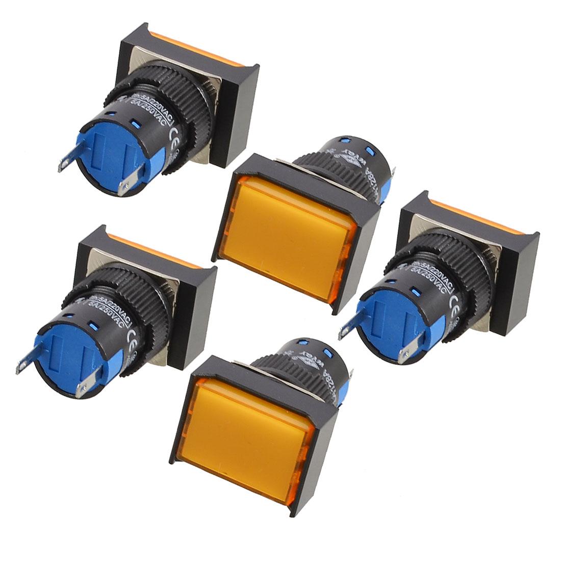 5 Pcs Orange Indicator Light 2 Terminals Signal Lamp AC 220V