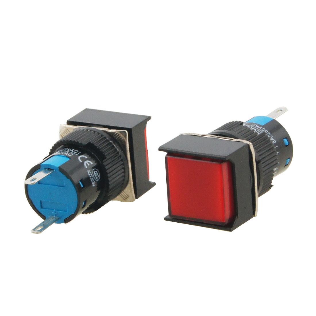 AC 220V Panel Mount Red Square Signal Lamp Indicator Lamp 2 Pcs Gdqun