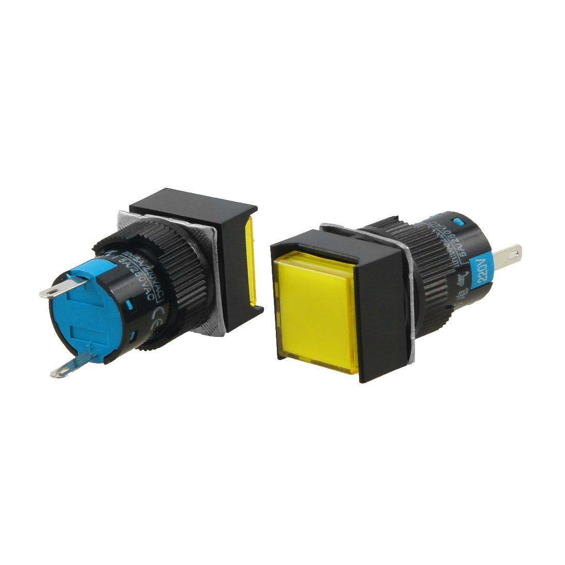 AC 220V Panel Mount Square Yellow Signal Indicator Lamp 2 Pcs