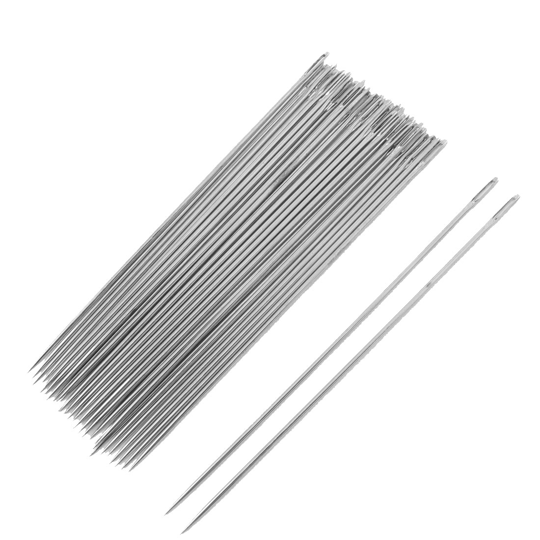 "40 Pcs Silver Tone Metal Sewing Needles 3.5"" Long"