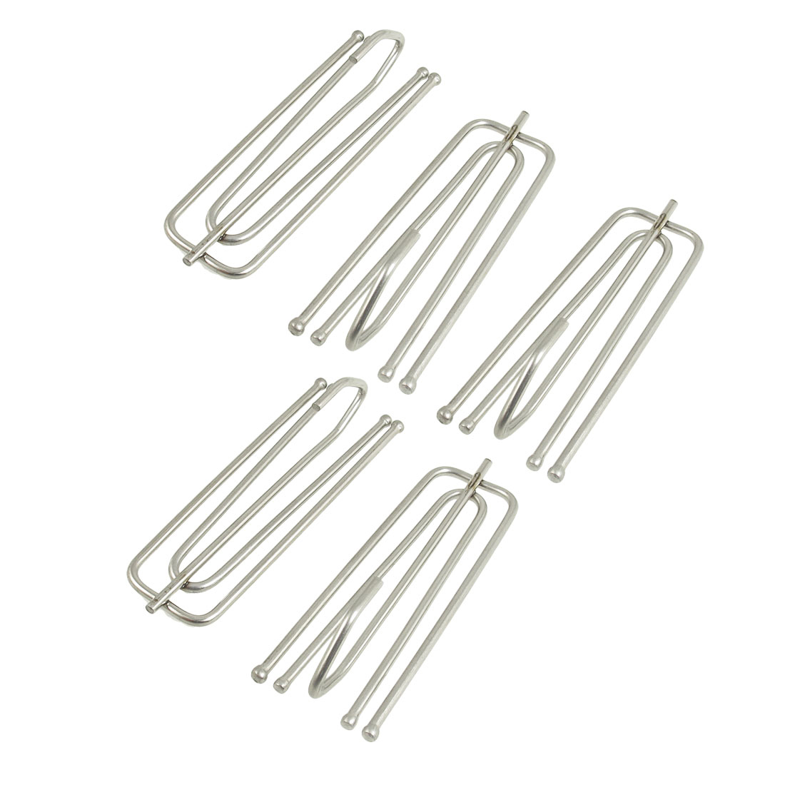 5 Pcs Deep Pinch Pleat Prong Curtain Hooks Silver Tone