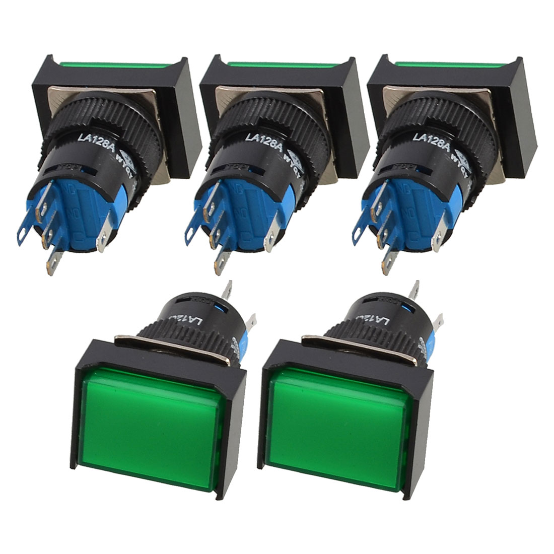 DC 12V Green Lamp 1NO 1NC Latching Rectangular Pushbutton Switch 5 Pcs