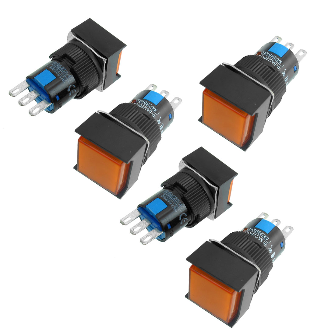 5 x AC 250V 5A 3 Pins 1NO 1NC Momentary Orange Square 16mm Push Button Switch