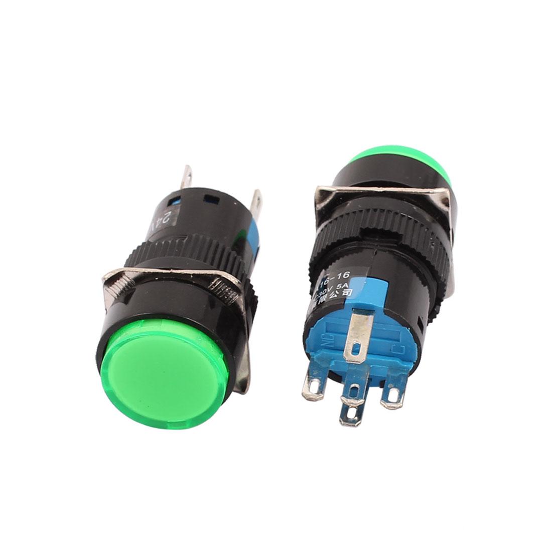 DC 24V Green Light 1NO 1NC Momentary Round Cap Push Button Switch 2 Pcs