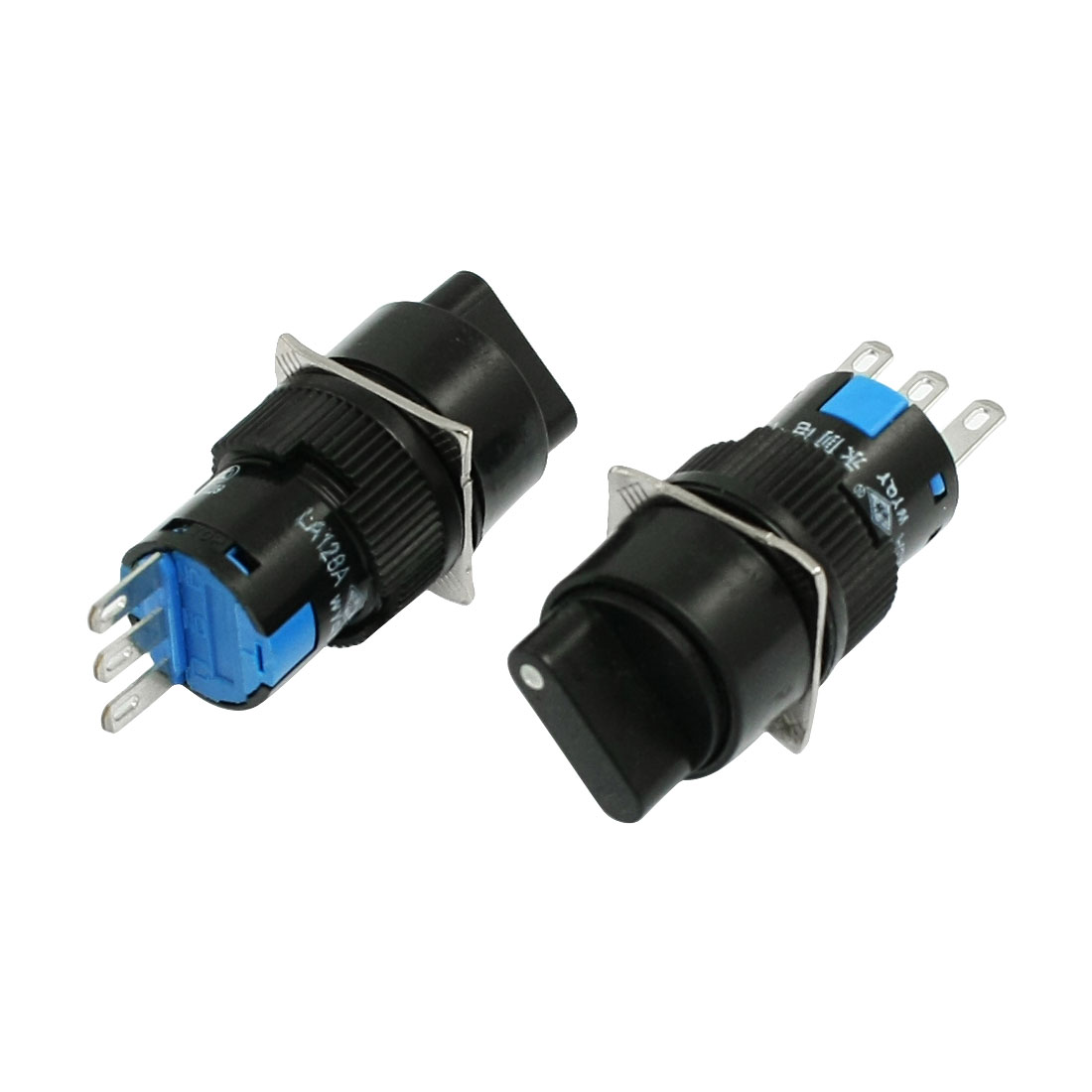 AC 250V 5A Panel Mounting Round SPDT Rotary Selector Push Switch 2 Pcs