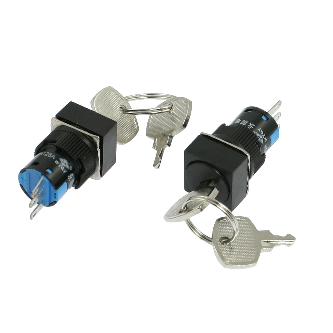2 Pcs AC 250V Square 2 Position 1NO 1NC Keylock Push Button Switch + 2 Keys