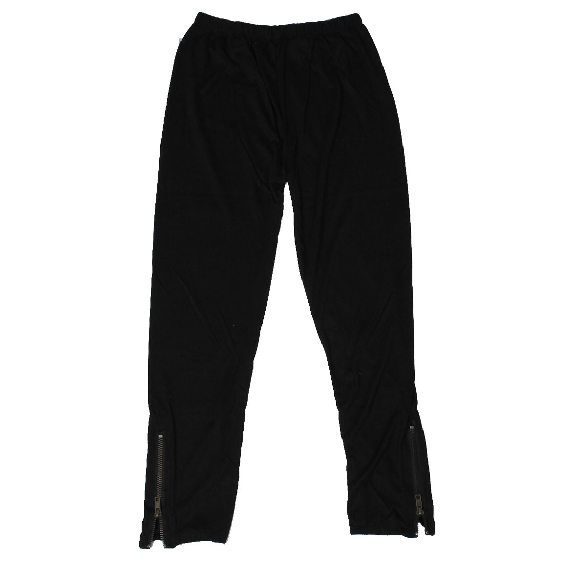 Ladies Zippers Decor Bottom Elastic Waist Black Skinny Cropped Pants XS