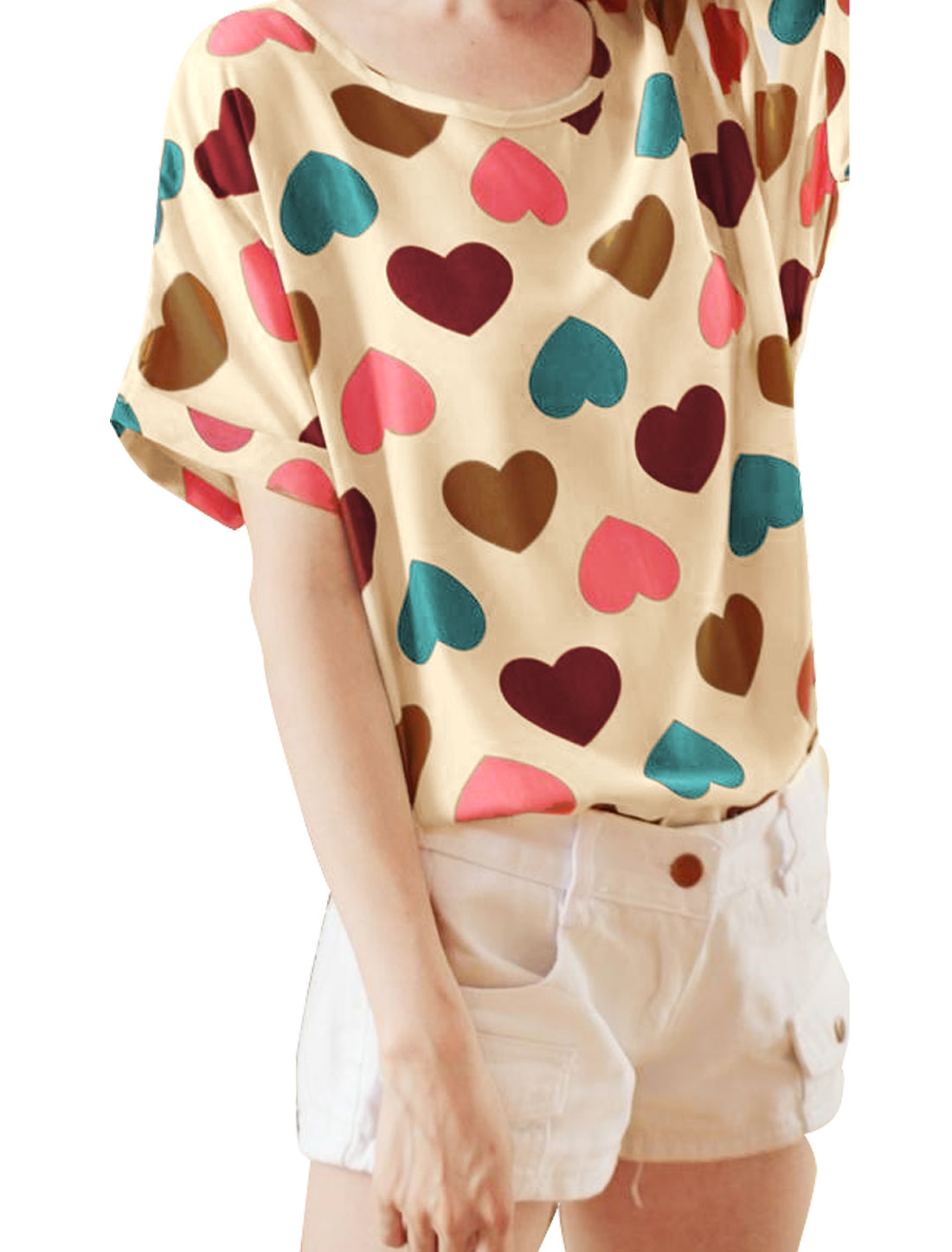 Lady Multicolor Scoop Neck Short Sleeve Cuffed Hearts Casual Loose Blouse XS