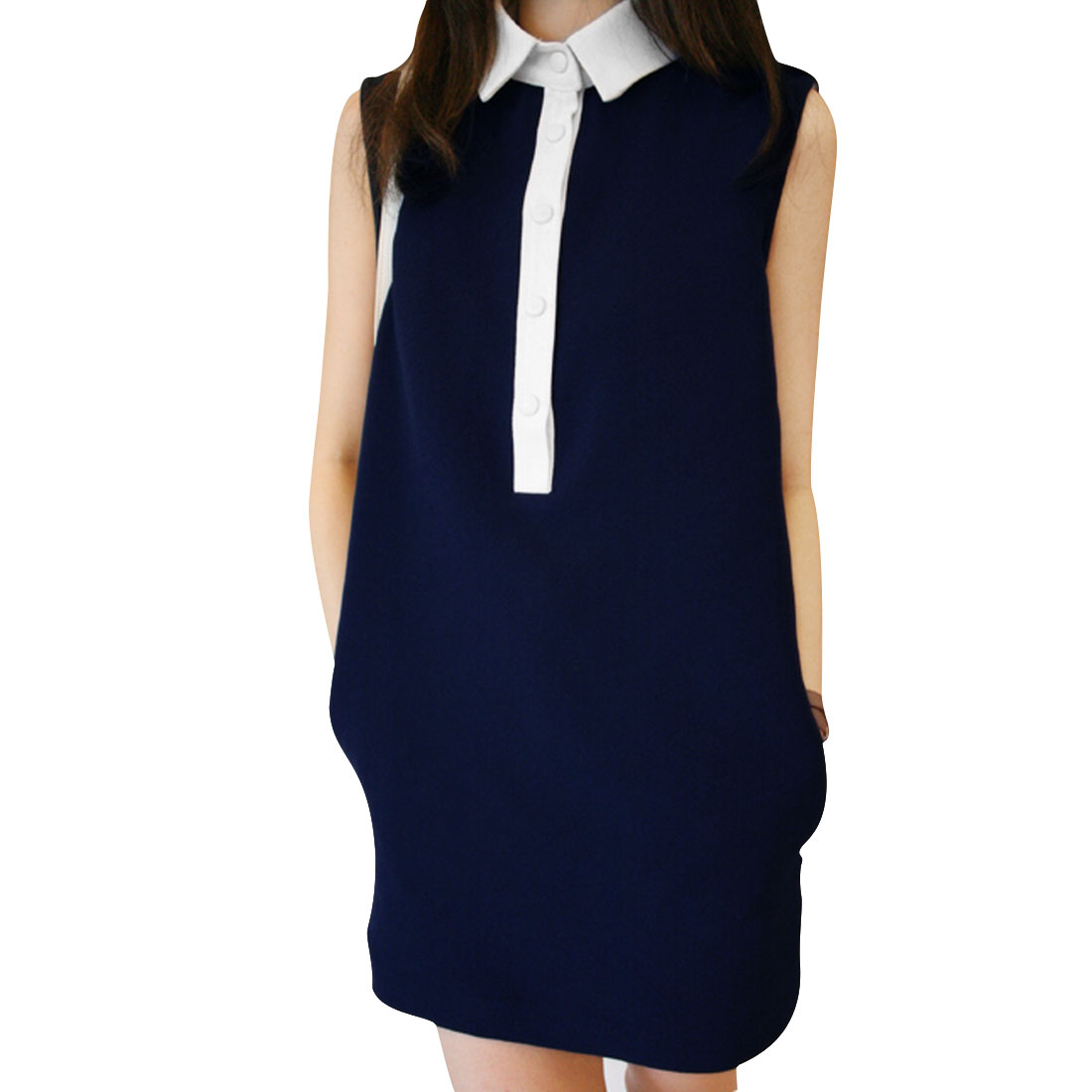Lady Dark Blue Point Collar Sleeveless Single Breasted Upper Mini Dress XS