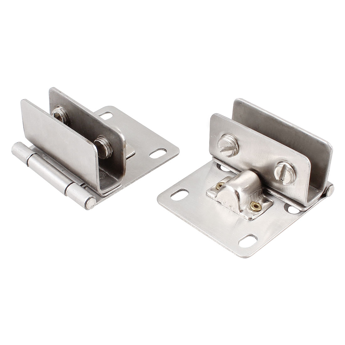 2 Pcs Bathroom 10mm Thickness Glass Door Hinge Silver Tone Set
