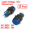 2 x 5P Momentary 1NO 1NC Blue Neon Light Round Push Button Switch 12V