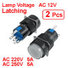 2 x 5P Latching 1NO 1NC White Neon Light Round Push Button Switch 12V