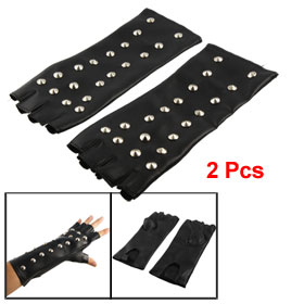Pair Hook Loop Fastener Black Faux Leather Studded Gloves for Lady