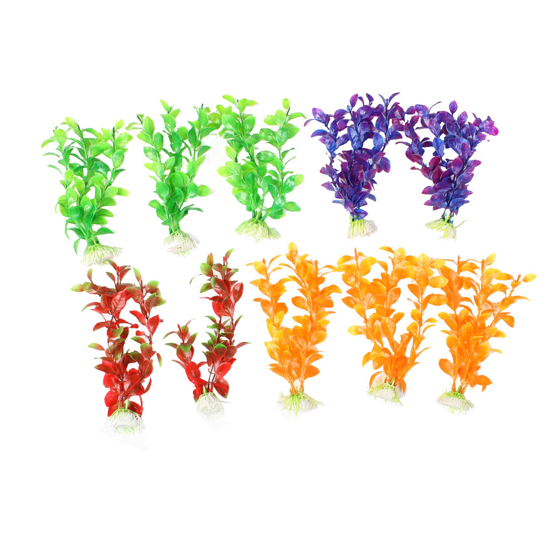 10 x Ceramic Base Assorted Color Plastic Plants Ornament for Aquarium