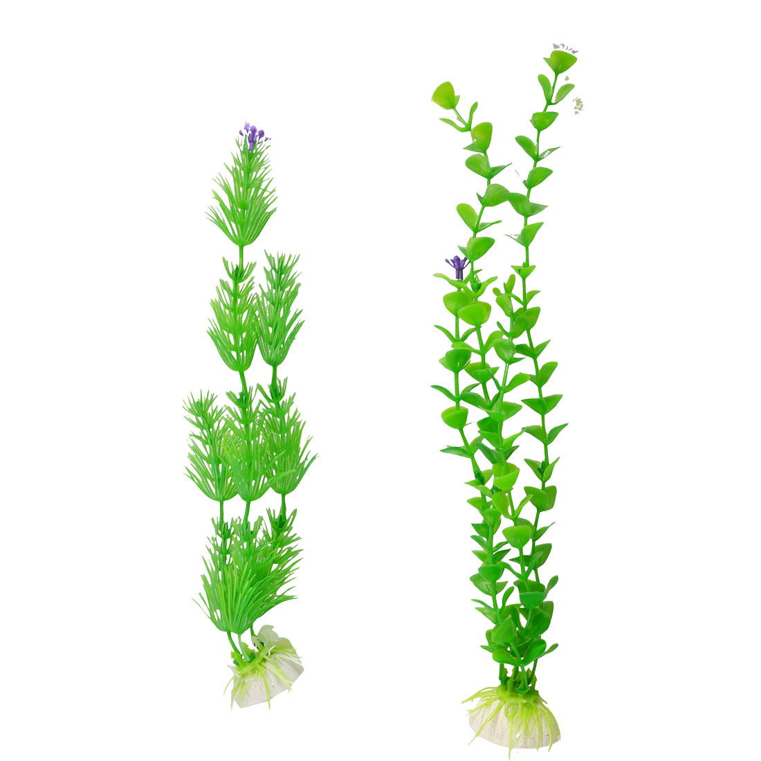 Long Plastic Aquarium Fish Tank Ceramic Base Aquatic Weeds 2 Pcs