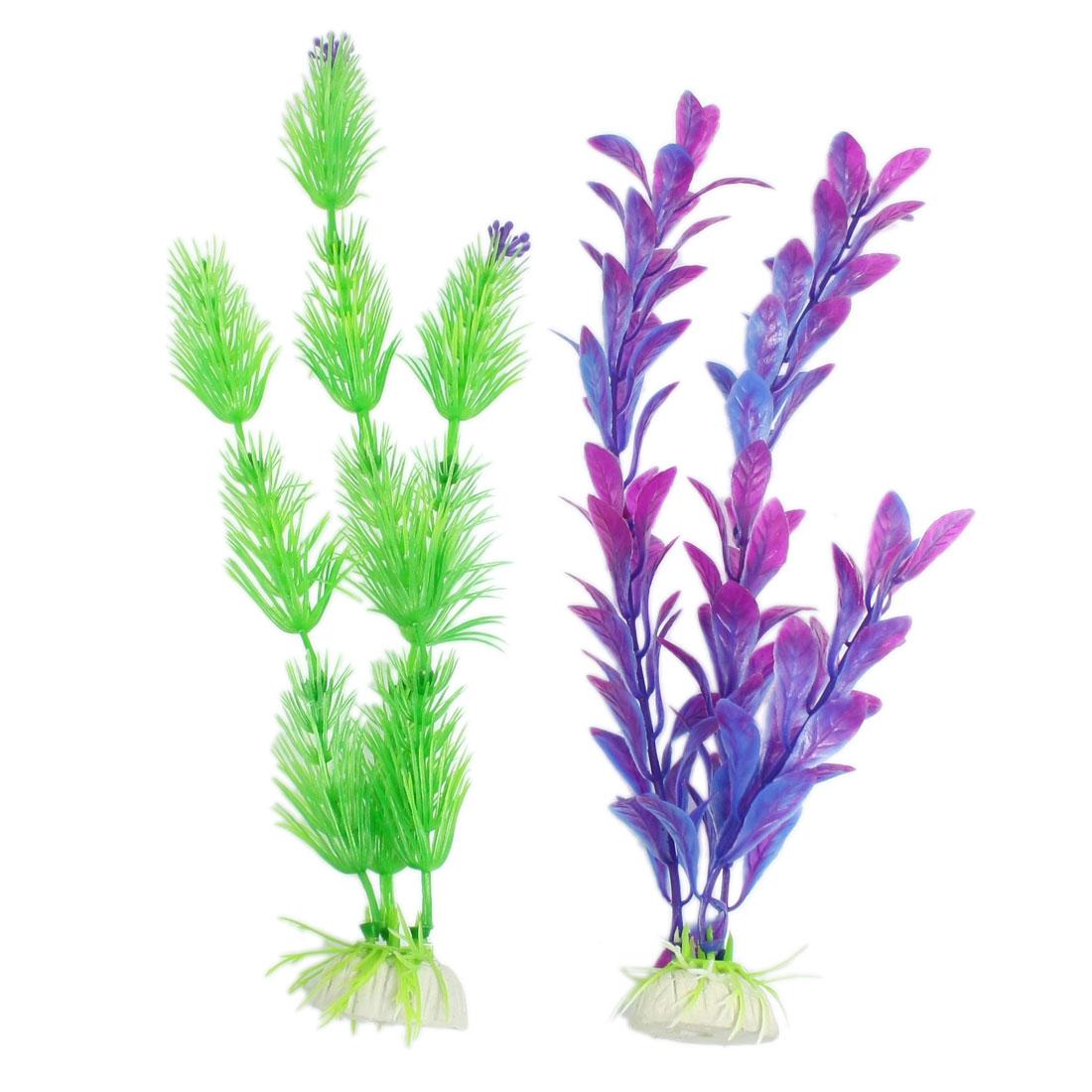2 Pcs Green Blue Purple Plastic Plants Aquarium Fish Tank Ornament