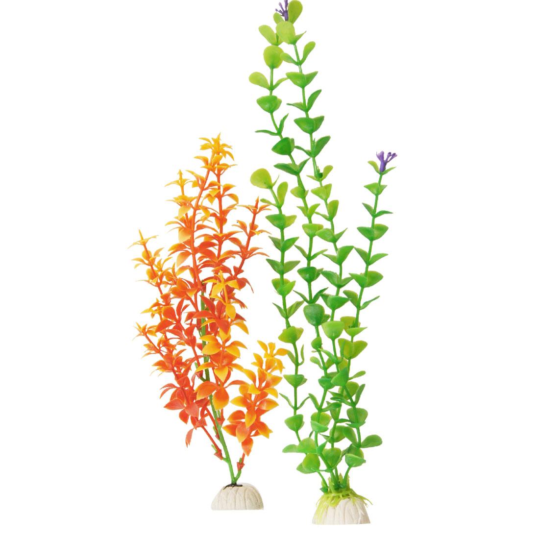 2 Pcs Green Orange Aritificial Plastic Aquascaping Plant Grass for Fish Tank Aquarium