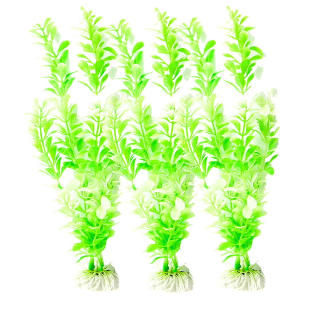 3 Pcs Light Green Plastic Aquascaping Plant Grass for Fish Tank Aquarium