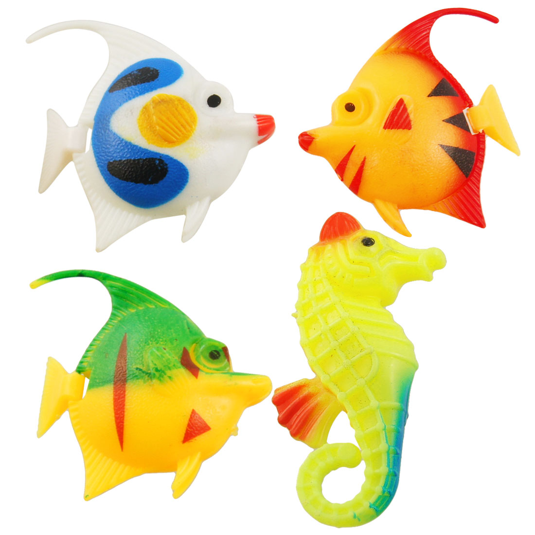 Aquarium Ornament Plastic Crafted Tropical Fish Colors 4 Pcs
