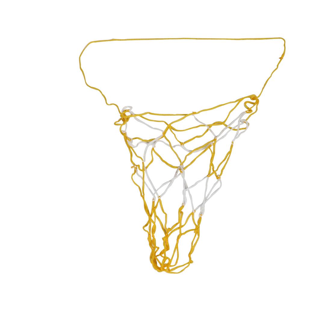 "35.4"" Length Yellow White Nylon Basketball Football Carry Net Bag 2 Pcs"