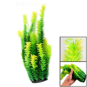 "13.8"" Height Rubber Base Green Orange Plastic Aquarium Plant Grass"