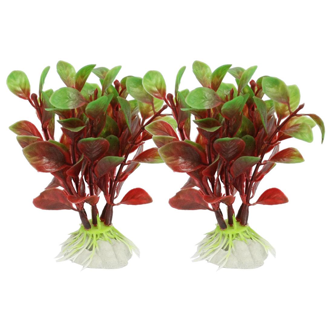 Ceramic Base Dark Red Green Emulational Water Plant 2 Pcs for Fish Tank