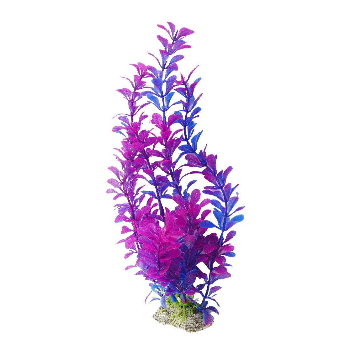 "9.8"" Height Purple Blue Plastic Artificial Plant Grass for Fish Tank Aquarium"