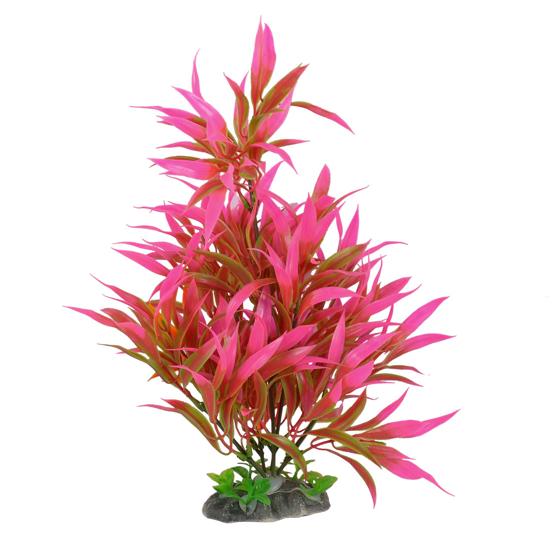 "12.6"" Height Aquarium Aquascaping Plastic Artificial Fuchsia Green Grass"
